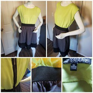 NEON GREEN GREY AND BLACK BEBOP DRESS MEDIUM